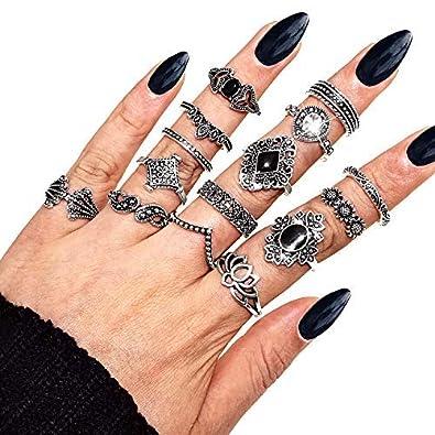 Gleamart 15 Pcs Vintage Knuckle Ring Set Fleur Boh/ème R/étro Noir Joint Mixte Bague Doigts Set