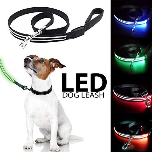 Talis LED Light-Up Dog Leash (New Upgrade 2019) USB Rechargeable Leash Improved Pet Safety &Visibility at Night Comfort Grip Handle Waterproof Leash for Small Medium Large Dogs (Green) -