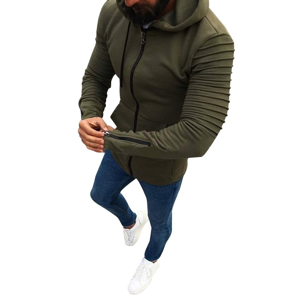 Men's Winter Slim Fit Sweatshirt Zipper Pleated Hoodie Outwear Sweater Warm Coat Jacket Top (M, Army Green) by Moxiu Men's Sweatshirt