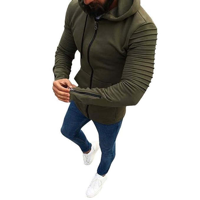 YanHoo Tops de Hombre Chaqueta de Hombre Otoño Abrigo Casual Cremallera Slim Fit Jerseys Ropa Interior Sudaderas Blusa Chaqueta de Punto de Color sólido con ...