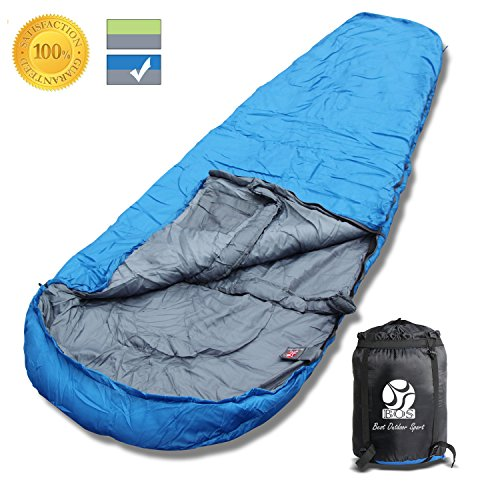 BOS Portable Mummy Sleeping Bag- Ultralight Waterproof Camping Sleeping Bag with Compression Sack for 4 Season Traveling and Outdoor Activities- Large Sleeping Bag for Adults up 72-Blue&Right-Zip