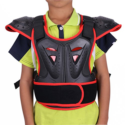 Spine Red - WINGOFFLY Kids Chest Spine Protector Body Armor Vest Protective Gear for Dirt Bike Motocross Snowboarding Skiing, Red S