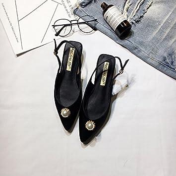 Sandales femme sauvage d'été pearl faible avec un fond plat pour les étudiants exposés light le bout de la chaussures fille ,38, couleur champagne