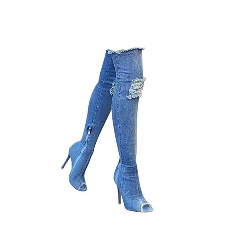 c88094beeec6 Fashion Women Boots Jeans Summer Autumn peep Toe Over The Knee Boots high  Heels Long Boots Plus Size: Amazon.co.uk: Shoes & Bags