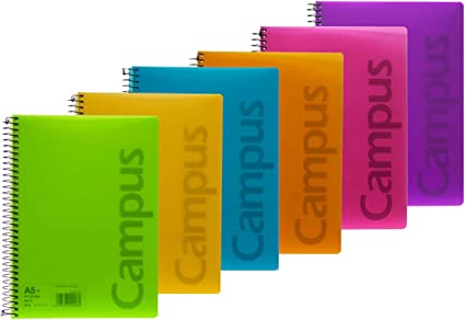 Campus 002434 Pack de 6 Cuadernos A5 Espiral Tapa Plástico 4x4 90Gr 80 Hojas: Amazon.es: Oficina y papelería