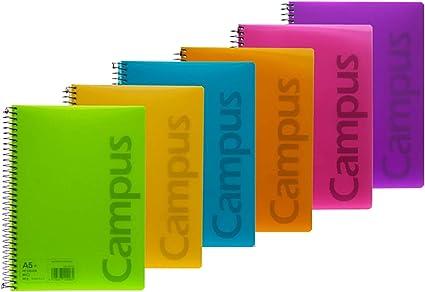 Campus 002434 Pack de 6 Cuadernos A5 Espiral Tapa Plástico 4x4 ...