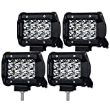 Liteway 4x36W 4inch Osram LED Light Bar Spot Beam Cube Work Light Driving Pods Offroad Tri-row Daytime Running Lamp for SUV Boat 4x4 Jeep 4WD ATV, 2 Years Warranty