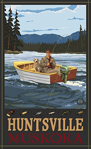 Northwest Art Mall PAL-2641 FIBH Huntsville Muskoka Fisherman In Boat Hills 11