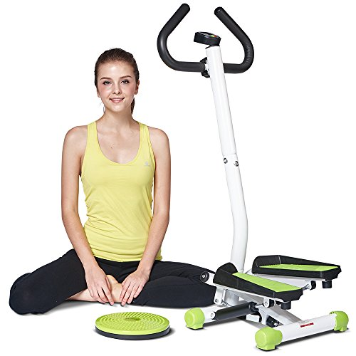 Exercise Mini Stepper with Handle Bar Home Cardio Stepper Machine with Elastic Rope, Waist Twisted HARISON 303CF by HARISON