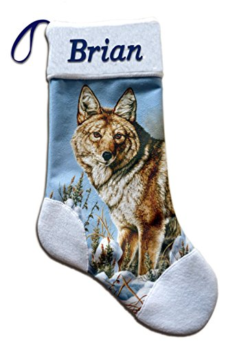 NEW Coyote Wildlife Christmas Holiday Personalized Stocking Mark Mansanarez