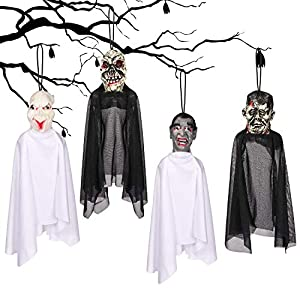 Y-STOP 4 Set 16 Inch Hanging Ghost Halloween Decorations - Realistic Hanging Ghost Halloween Decor for Graveyard