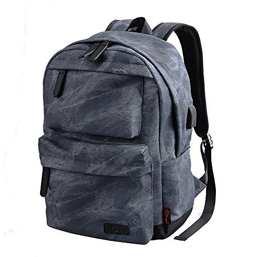Douguyan PU Leather Backpack Casual School College Bag Book Bags Laptop Daypack Rucksack for Men and Women with USB and Earphone Port ()