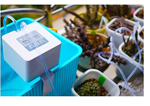 Automatic Drip Irrigation Kit, Self Watering System with Timer and USB Charging for Deck, Patio, Garden, Vegetable Gardens or Potted Plants, DIY 30-Day Programmable Water Timer for 8 pots ()