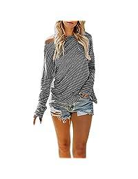 XUANOU Women's Long Sleeve Striped Print Hooded Fashion T-Shirt Top Blouse