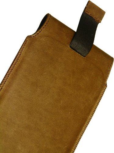 Apple iPhone 6 / 6s Plus (5.5) Slim Design Vintage Look Antik Echt Leder Tasche Handytasche Schutzhülle Ledercase Lederetui Matador Tabacco Braun mit Magnetverschluss und Ausziehhilfe