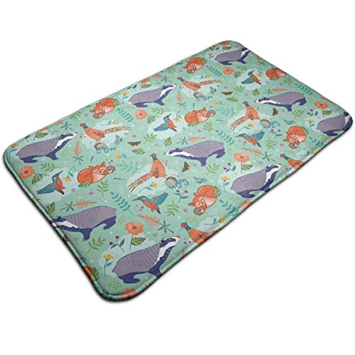 - Li-Never Woodland Wildlife Doormat, Carpet19.531.5 Inch Low-Profile Waterproof, Non Slip, Easy Clean, Washable Indoor/Outdoor Mats for Entry, Patio, Bathroom