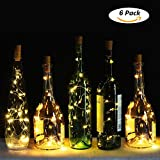 Wine Bottle Lights with Cork, Genround 6 Pack Battery Operated LED Cork Shape Silver Copper Wire Colorful Fairy Mini String Lights for DIY, Party, Decor, Christmas, Halloween,Wedding (Warm White)