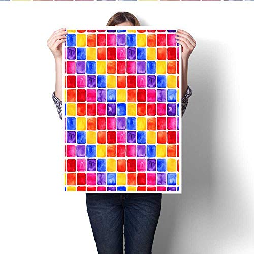 Anshesix Art-Canvas Prints Decorative Watercolor Mosaic Background Colourful Square Shapes Customizable Wall Stickers 32