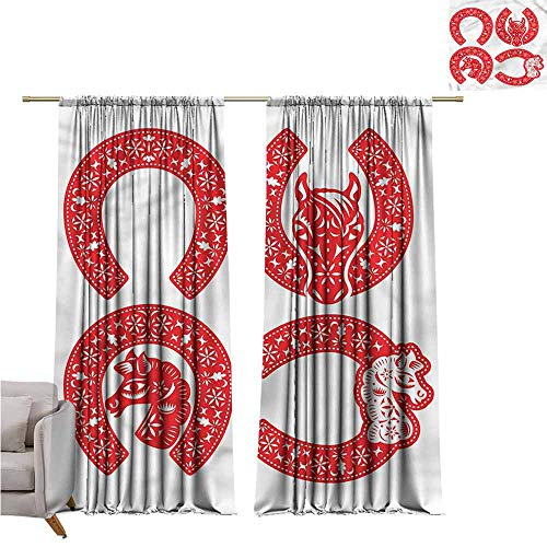 (zojihouse HorseshoeThermal Insulated Blackout Curtainsnfor Bedroom Living Room Nursery Floral Horse Heads Shoes W72xL72)