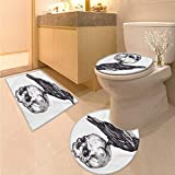 Anhuthree Scary Bath mat and Toilet mat Set Scary Movies Theme Crow Bird Sitting on a Human Old Skull Sketchy Image Printed Bath Rug Set Charcoal Grey White