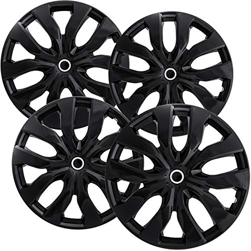 OxGord 15 inch Hubcaps Best for Nissan Rogue - (Set of 4) Wheel Covers 15in Hub Caps Ice Black Rim Cover - Car Accessories for 15 inch Wheels - Snap On Hubcap, Auto Tire Replacement Exterior Cap ()