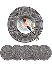 Fachoige 12 Inch Round Placemats Braided Fabric Round Table Placemat Table Mats Washable Round Braided Placemats for Dining Table Heat Insulation Kitchen Table Mats