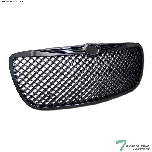 Topline Autopart Black Mesh Front Hood Bumper Grill Grille ABS For 04-06 Chrysler Sebring 4 Door Sedan / 2 Door Convertible