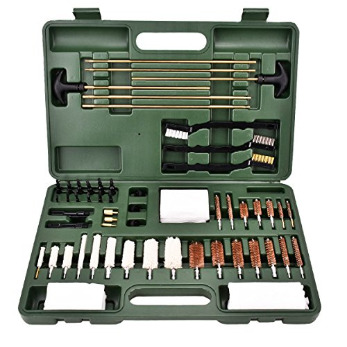 Axageid Universal Gun Cleaning Kit - Hunting Rifle Handgun Shotgun Cleaning Kits Including Brass Rod/Bore Brush/Cotton Mops/Jags/Patch Loops/Muzzle Guards/Patches with Carrying Case