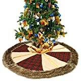 "Luxury Thicken Christmas Tree Skirt 48""-Red Black Plaid,Linen Burlap with Faux Fur Trim Border.No Smell.Double Layers a Fine Decorative Handicraft for Christmas Tree Decoration"