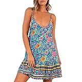 Sleeveless Dress,Women Sexy Printed V-Neck Sleeveless Sling Adjustable Ruffled Loose Mini Dress,Blue,S
