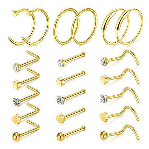 Nose Ring - D.Bella 20G Nose Ring Hoop 21pcs Nose Rings Studs Piercings Hoop Jewelry Stainless Steel Nose Rings Gold