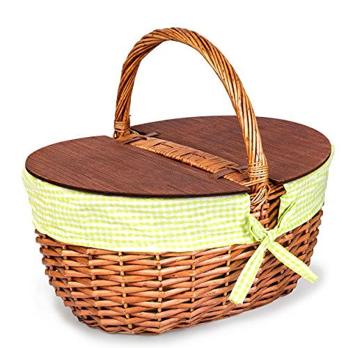 Wicker Picnic Basket, Includes Green/White Checkered Liner, Large Picnic Basket with Lid, Thoughtful and Romantic for Wedding in Packaging