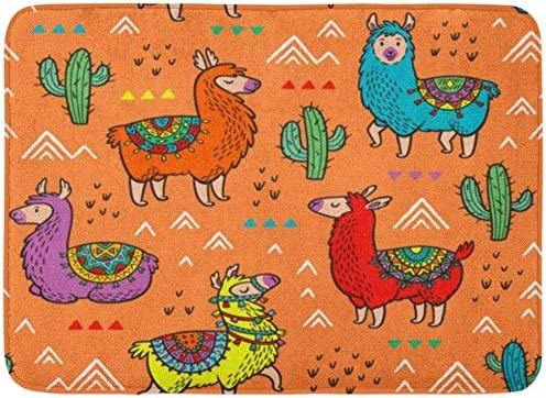 Alfombras de baño Alfombras de baño Alfombrilla para exterior / interior Llama Lamas Fiesta ideal Jardín de infantes Bebé Preescolar y sala de niños Alpaca Decoración de baño Alfombra Alfombra de baño: