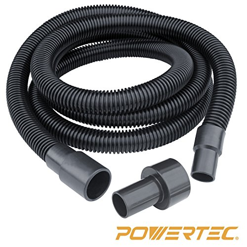 POWERTEC 70130 Dust Collection Hose and Fittings | Premium 10ft Power Tool Dust Hose with Vacuum Attachments