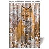 CTIGERS Animal Shower Curtain Cute Fox Snow Field Winter Scenery Polyester Fabric Bathroom Decoration 48 x 72 Inch