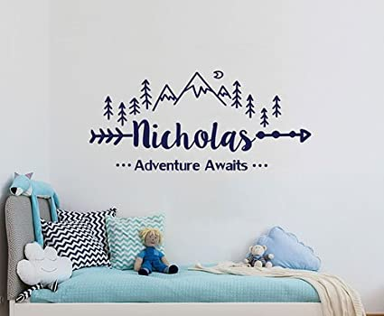 StylewithDecals Wall Decal Boys Name Adventure Awaits Arrow Vinyl Stickers  Personalized Name Mountain Nursery Bedroom Kids