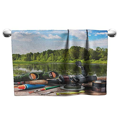 Gym Hand Towels Hunting,Fishing Tackle on a Pontoon Lake in The Woods Trees and Greenery Freshwater Hobby, Multicolor,Chamois Towel for car