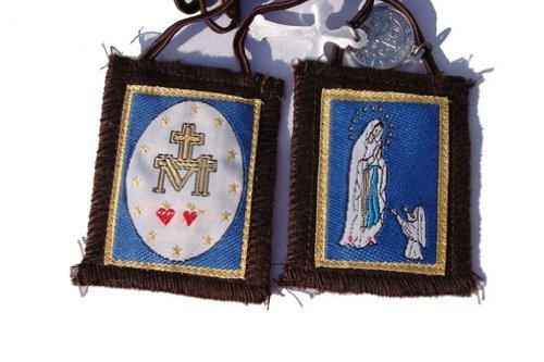 Our Lady of Lourdes brown Mt.carmel scapular by Rose Scapular