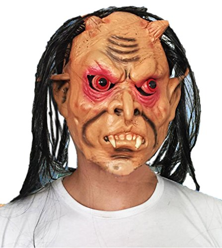Uleade Halloween Mask Grudge Ghost Red Eye Terror Zombie Overhead Head (Grudge Costume Dress)