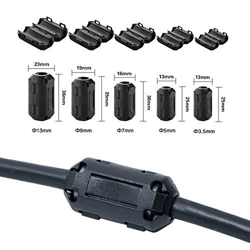 Wellcn 26 Pcs Ferrite Cores - EMI RFI Noise Filter Clip for 3mm/ 5mm/ 7mm/ 9mm/ 13mm Diameter-Black by Wellcn (Image #3)