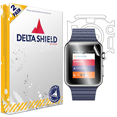 Apple Watch Series 1 Screen Protector (42mm), DeltaShield BodyArmor Full Coverage Back + Front Screen Protector for Apple Watch Series 1 Clear HD Anti-Bubble Film [2-Pack] by DeltaShield