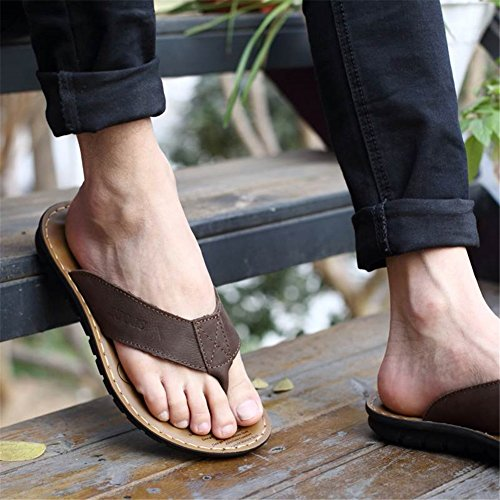Casual Brown Khaki C Flip Outdoor Slippers Fall Summer for Black amp; Men's Shoes Flops Shoes Cowhide Formal HUAN 7wOTaZWq