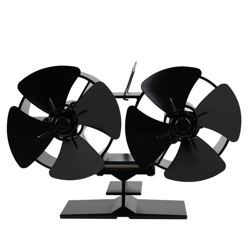 Tatayang Kaminventilator ohne strom Ofenventilator thermoelektrisch, Doppelter Hitze angetriebener Ofen Fans Doppel Hitze Kamin-Ventilator für Holz LOG Brenner, Schwarz (8 Klingen)