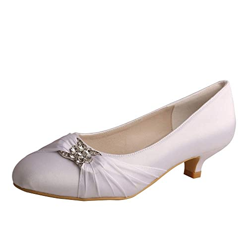 06edc27c7617 Wedopus MW633 Women s Satin Rhinestone Closed Toe Low Heel Party Wedding  Shoes Size 5 White. Roll over image to zoom in