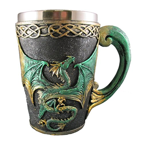 Dragon Tankard - Medieval Dragon Tankard, Celtic Drinking Beer Glass, Fantasy Pagan Cup, Green & Gold Mythical Mug