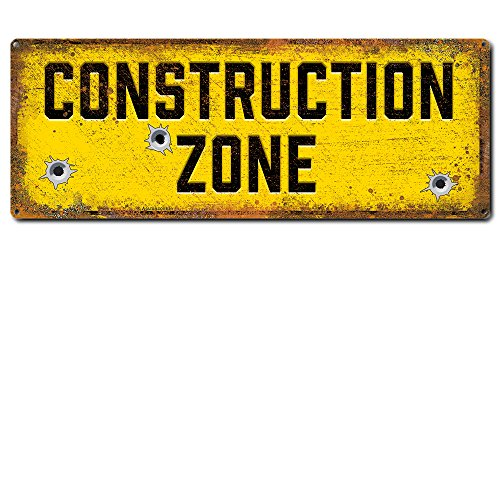 "Construction Zone ~ Funny Metal Signs ~ 6"" x 16"" Metal Sign ~ Home, Garage & Man Cave Wall Decor ~ Gifts for Construction & Demolition Workers, Builders, Architects, Kids & Dads (RK3043_6x16)"