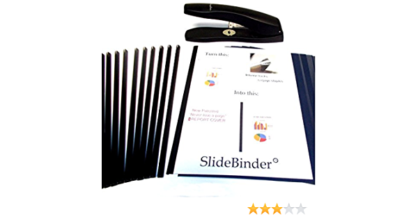 and Never Lose a Page Large Size for 35-50 Sheets of 20lb Paper Slide 30 SPINES ONLY Staple Newly Patented Premium SlideBinder tm Binder Bars