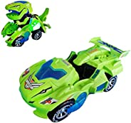 Transforming Dinosaur LED Car, Dinosaur Transform Car Toy Automatic for Kids 3+ Years Old