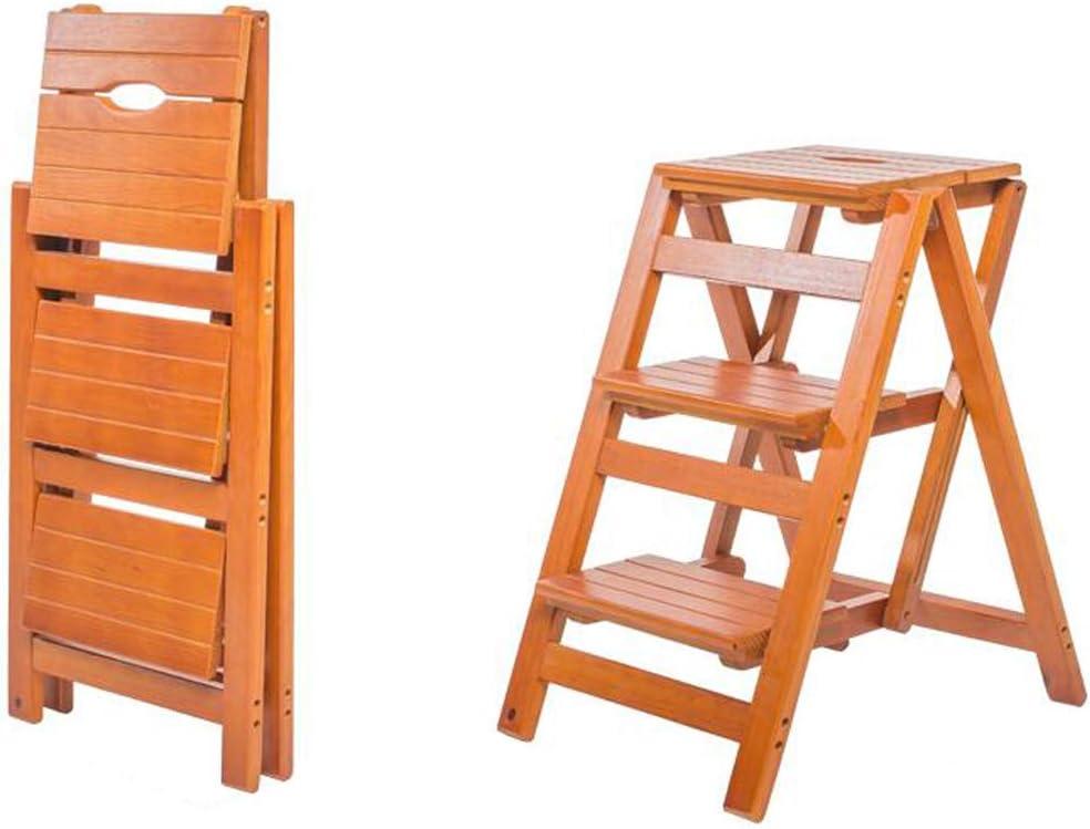 De Madera Taburete de 3 Pasos Portátil Plegable Escalera de escaleras con 3 Pasos Escalera de Seguridad (Color: Color Nogal, tamaño: 38x47x51cm): Amazon.es: Hogar