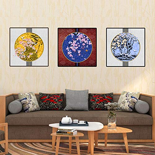 Ex-ART Chinese Classical Round Plum Landscape Decoration Painting for Home Decoration (11.8inchX11.8inch) Living Room Study Bedroom Porch,NO Frame